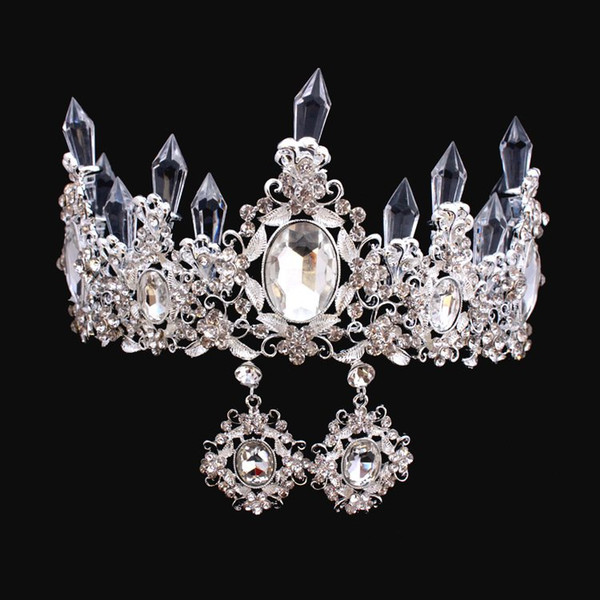 top popular Luxury Crystals Baroque Wedding Crowns With Earrings Silver Beaded Bridal Tiaras Rhinestone Head Pieces Cheap Hair Accessories Pageant Crown 2021