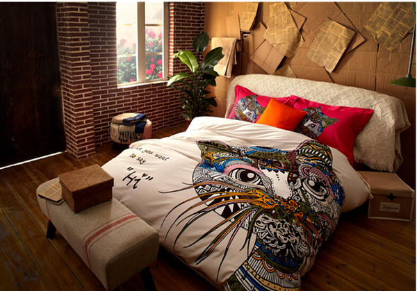 Very German Style Colorful Cat Horse Giraffe Bedding Sets Fashion King  RU06