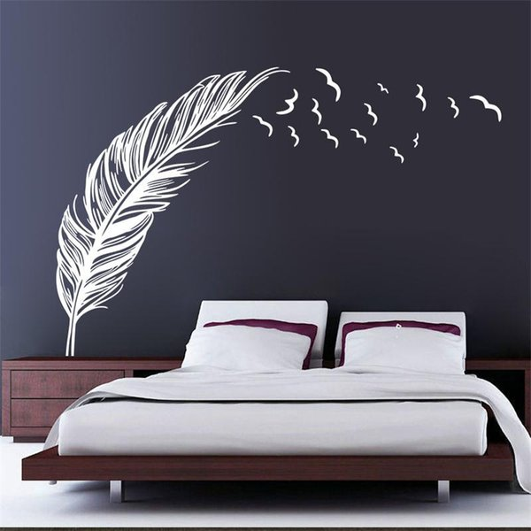 kitchen wall decals Left right flying feather wall stickers home decor adesivo de parede home decoration wallpaper wall sticker