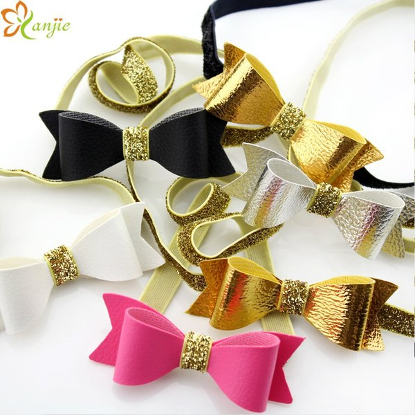 "SALE! 3"" Artificial Leather Bows 3/8"" Gold Glitter Elastic Headband Hair Accessories Hair Bows Headwear Accessories 10 colors optional 20PCS"