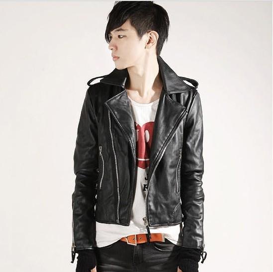 top popular Fall-men's fashion leisure turn-down collar sim faux leather jacket free shipping 2P3 2019