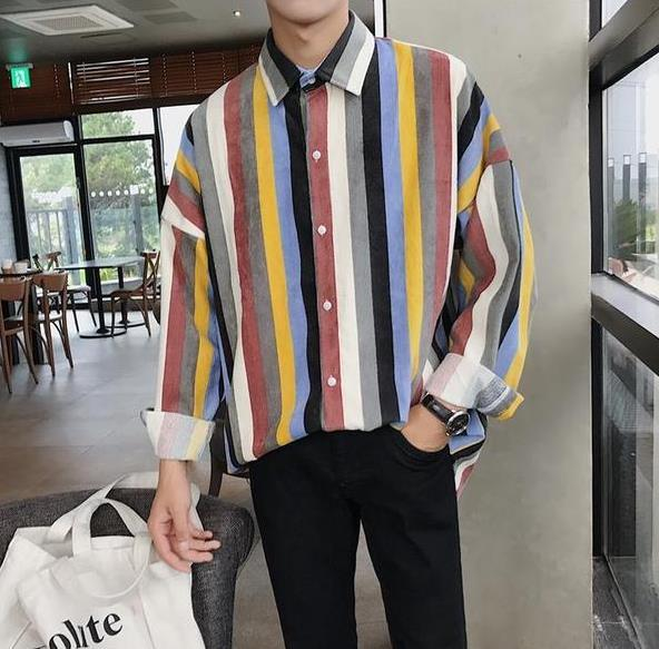 Hot sales autumn new men wear comfortable wick top shirt striped fabric loose long-sleeved shirt male money personality