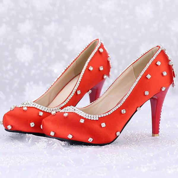Freies Verschiffen-rote Satin-Hochzeitsfest-Schuhe 3 Zoll Fersen-Art- und Weiserhinestone-Special Event-Schuhe Schönheits-Festzug-Pumpen