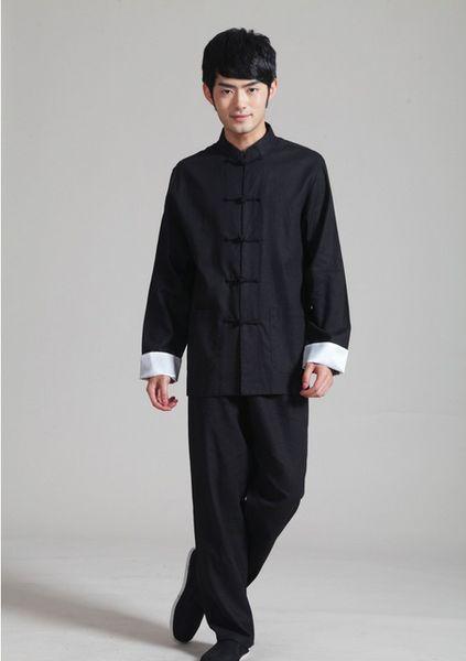 Xangai História Preto Manga Longa Chinês Tradicional clothing Botão Chinês dos homens Jaqueta Do Vintage jaqueta de gola mandarim com calças para o homem