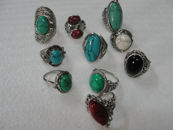 best selling Vintage Turquoise Antique Silver Rings mix Size Turquoise Mix 10 Styles 10pcs lot Vintage Gemstone Rings Turquoise Rings