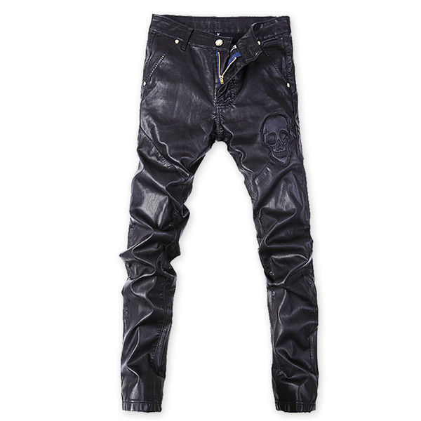 Wholesale- Korean Punk rock trousers Black Tight Faux leather pants for men Plus size 32 33 34 36 Skull Skinny slim