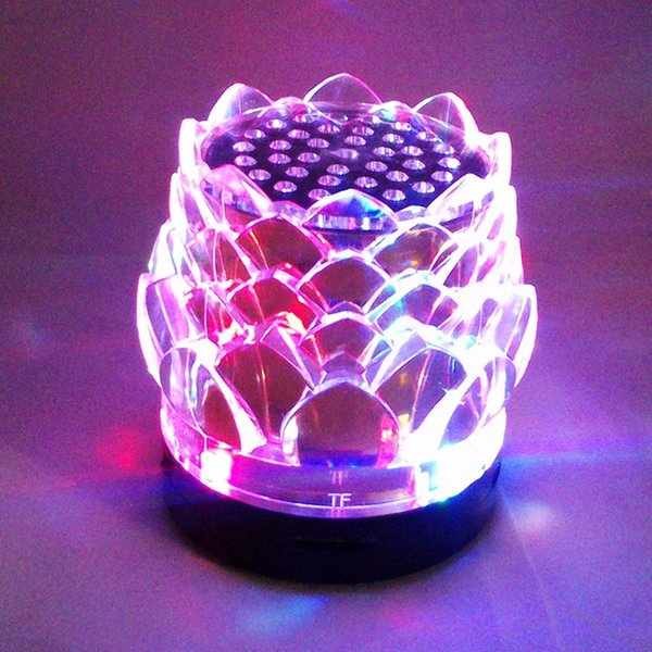 Christmas Gift JHW-238 portable Crystal lotus bluetooth speaker stereo MP3 player Mp3 Music Box Flash light colorful flashing lights sound