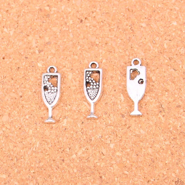 162pcs Antique Silver Plated wine glass Charms Pendants for European Bracelet Jewelry Making DIY Handmade 20*6mm