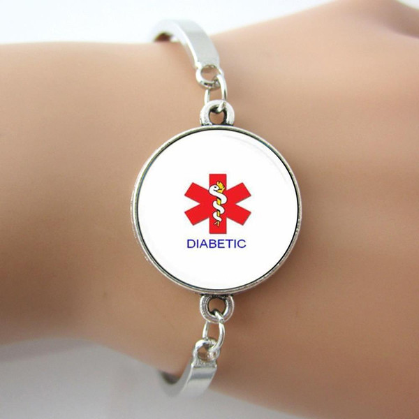 Handmade Alert Medical Diabetic Glass Tile Bracelets Bangle Antique Silver ,Rhodium Plated New Design Jewelry 1 piece Hot Sell