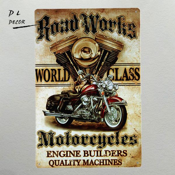 "DL- ""Road Works"" Motorcycle, Vintage, Retro,Tin Sign, Gas Oil, Rat Rod, Street Rod home decor"