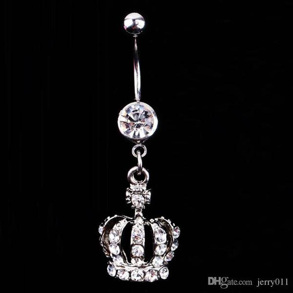 Vente chaude couronne de charme Rhinestone Body Piercing bijoux Bouton de ventre Bague Anneau Bijoux Drop Livraison Body-0164