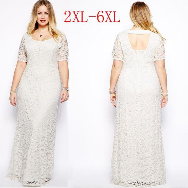 Womens Plus Size Maxi Dress With Sleeves Female Vestidos Long White Lace  Dress 2XL 3XL 4XL 5XL 6XL Fat Women Large Big Size Clothing Dress For ...