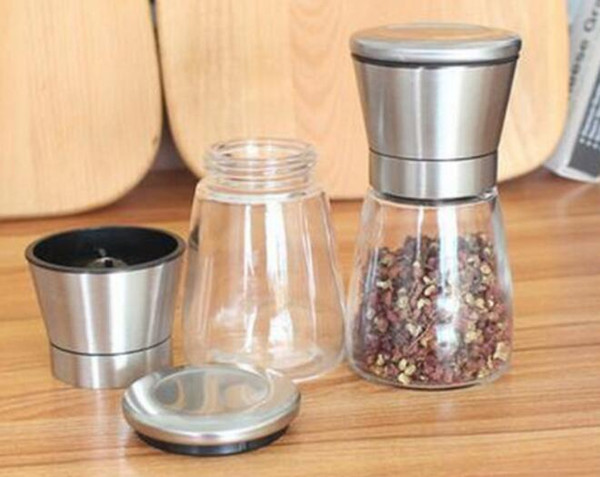 top popular New Stainless Steel Salt And Pepper Mill Glass Body Spice Salt and Pepper Grinder Kitchen Accessories Cooking Tool 2021