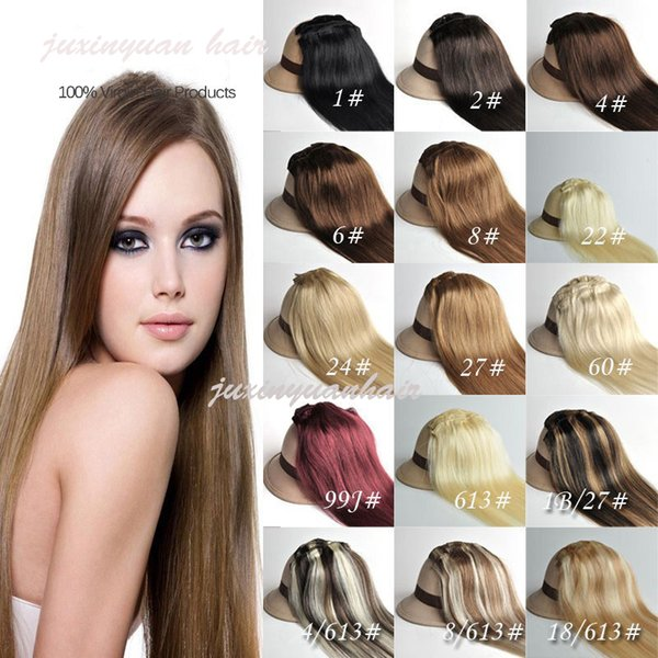 5A - 200g/pc 10pc/set 100% real human hair/lndian hair clips in extensions real straight full head high quality