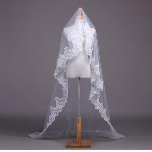 Бесплатная доставка Velo de la Novia 3M Long Veil Trailing Vintage Lace Soft Пряжа Все свадебные аксессуары для шнурка Свадебная вуаль TS-03