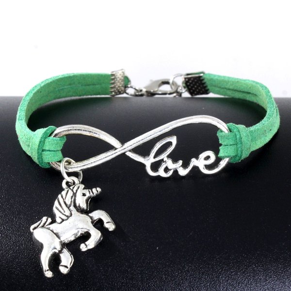 10pcs Vintage Silver Love Infinity Unicorn Horse Charm Bracelet Bangle For Women Mixed Color Velvet Rope Bracelet Jewelry Gift Accessories