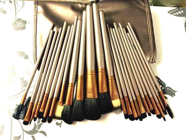 lowest price / High quality new NUDE #3 brown 24Pcs/set Professional makeup brushes with leather pouch