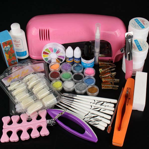 best selling Wholesale-Hot Sale Professional Manicure Set Acrylic Nail Art Salon Supplies Kit Tool with UV Lamp UV Gel Nail Polish DIY Makeup Full Set