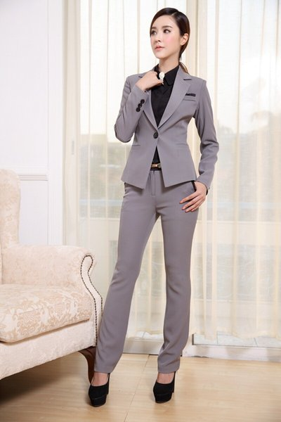 Womens Suits Blazer With Pants New 2015 Fashion Formal Office Ladies Uniform Designs Woman Pant Suit for work