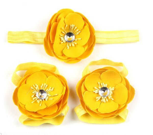 Flores de disco Diademas Accesorios para el cabello Diamantes de imitación Bebé Niñas Niño Niño Infantil Pie descalzo Flores Decoraciones Envío Gratis 10set