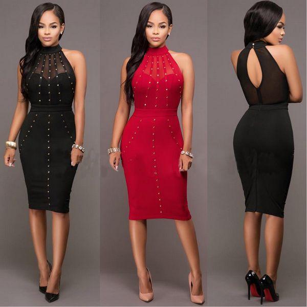 VAZN Summer Dress Womens Sexy Dresses Party Night Club Wear Ladies Bodycon Black Red Mesh Pencil Midi Dress Vestidos q171118