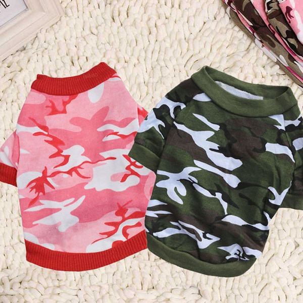 Free Shipping Small Dog Apparel Shirt Pet Cothes Camouflage Style Cotton Shirt Pet Supplies Pet Christmas Gifts Chihuahua Clothes