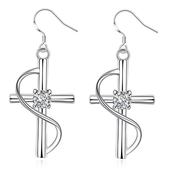 Silver Crystal Cross Earrings Girl Hot Sale Crystal Cross Stud Earrings for Wedding Party Fashion Jewelry