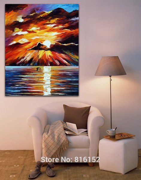 Sunset Ocean Landscape Palette Knife Oil Painting Wall Art Picture Printed On Canvas For Office Home Hotel Decor