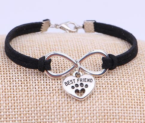 Vintage Silver Infinity Dogs Paw Best Friend Bracelet Jewelry Charm Mixed Velvet Rope Cuff Bangles Women Bijoux Gift 10pcs B501
