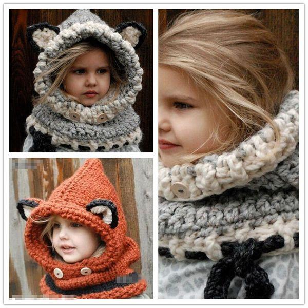 2 Color Lovely crochet fox ear winter windproof hats new Fashion scarf set for kids crochet headgear soft warm hat baby winter beanies B001