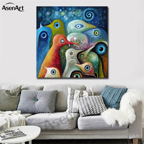 best selling Colorful Abstract Birds Modernism Oil Painting Printed on Canvas Mural Art Home Decor for Hotel Cafe Bar Office Wall Art