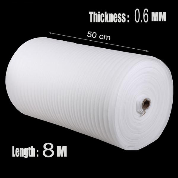 Atacado-0.5 * 8m 1Pcs 0.6 milímetros Protetor EPE Roll Packing Film Verpakkings Material de proteção Embalagem Almofada de ar Urdidura Espuma pré-corte de envio