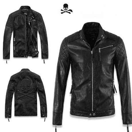 Fall-men's casual jacket. by autumn korean style collar design for thin skull leather jacket coat men slide