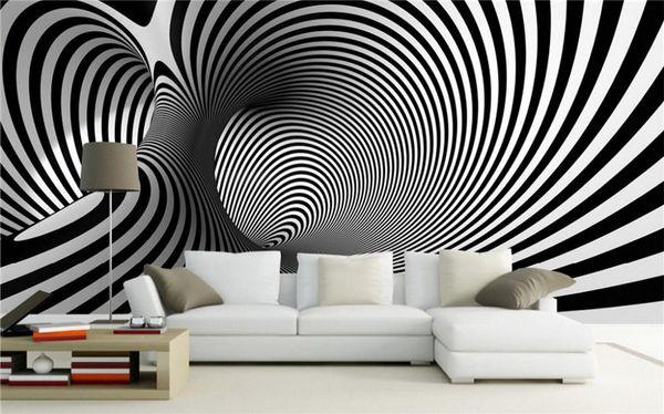 Großhandel Schwarz Weiß Abstrakt Schraube Künstlerisch Hintergrund Sofa  Schlafzimmer Tapete Wandbild Studie Arcade 3d Abstrakt Wandbilder Papier  Peint ...