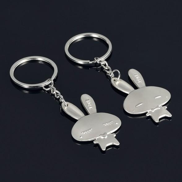 Keychains for Car Keys Couples Lovers Christmas Gifts Presents Women Wholesale Handbag Keychain Set Designs for Girls Rabbits Lovers Set
