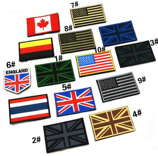 3.15*2 inch 3D UK Flag Union Jack Embroidered Patch with magic stick Armband Military patches Outdoor Army Armband VP-28