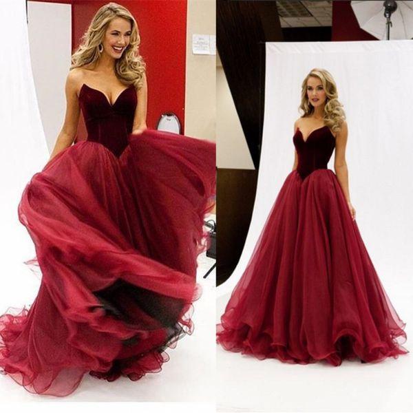 Hot 2017 Burgundy Velvet Prom Dresses Sweetheart Ruched Tulle Long ...