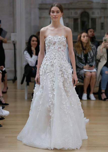 Romantic A Line Wedding Dresses 2017 Oscar De La Renta Bridal ...