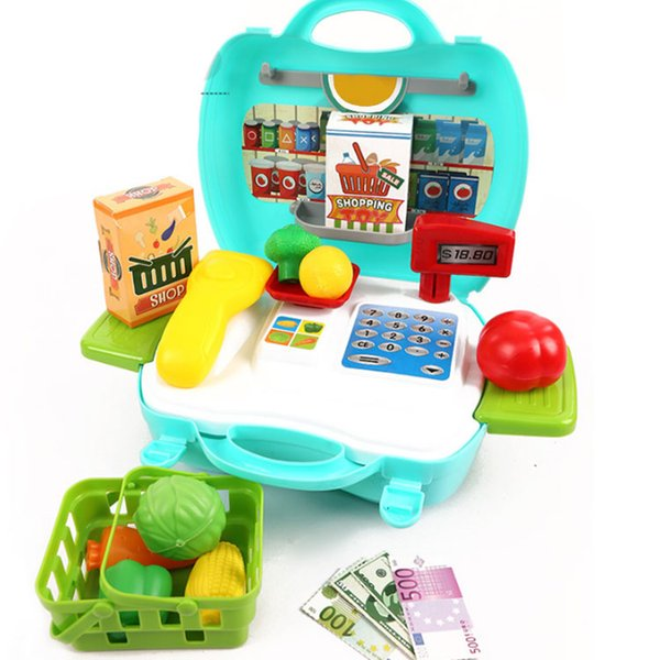 2019 Kitchen Toys For Children Portable Checkout Counter Cooking Set Role Play Box Plastic Kitchen Cooking Kids Toys Set From Lemonle 13 57