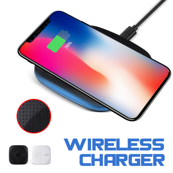 top popular Qi Wireless Charger for iPhone XS Max Mini Wireless Charging Pad Anti-Slip Rubber Qi-Enabled Devices for Galaxy S8 S9 Plus with Retail Box 2020