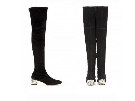 best quality! U490 34/40 m GENUINE LEATHER stretch DIAMOND med HEEL THIGH high BOOTS