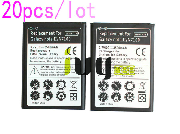 20pcs/lot 3500mAh EB595675LU Replacement Battery For Samsung Galaxy Note II 2 N7100 N7000 N7102 t-mobile T889 Sprint L900 Verizon i605