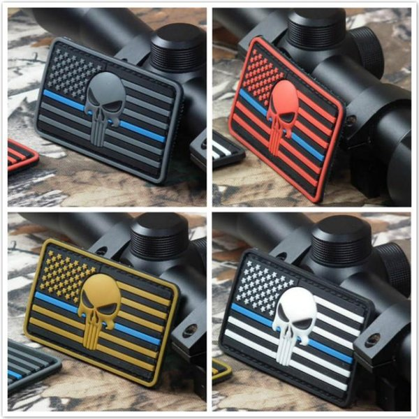 top popular 3.15 inch 3D PVC Patch Punisher with magic tape Thin Blue Line DEVGRU Seal Team American flag Skull sew on patch GPS-021 2019