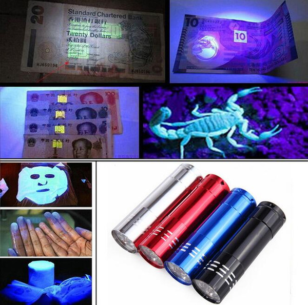 best selling 9 LED Mini Aluminum UV Ultra Violet 9 LED Flashlight Blacklight Torch Light Lamp 50PCS free ship