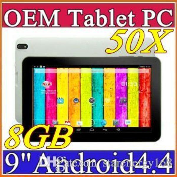 "top popular 50X DHL 9"" quad core tablet pc android 4.4 KitKat ATM7029B QuadCore 512MB RAM 8GB ROM tablets Dual Camera C-9PB 2019"