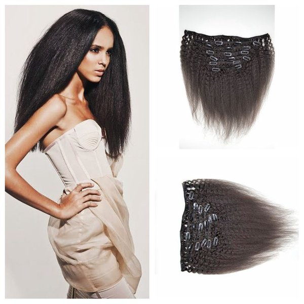 Cheap Kinky Straight Clip In Human Hair Extensions 8-24inch Natural Black Brazilian Human Hair Coarse Yaki Clip ins G-EASY
