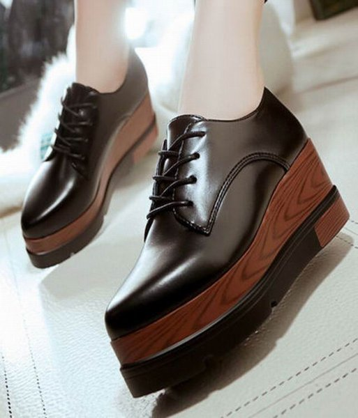 2018 Sexy Womens Wedge High Heels Platform Punk Style Wedges High Ankle Boots Pointy Toe Lace Up Oxfords Single Shoes Eur 35-39