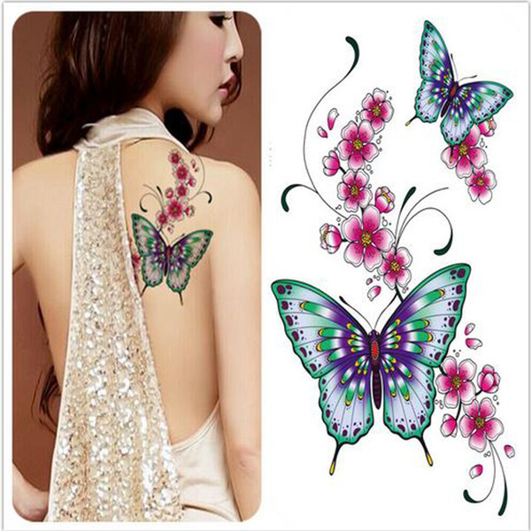Tatuagens Femininas Delicadas Atacado Grandes Flores Tatoo à Prova D água Adesivos Temporárias Para Lady Mulheres Projeto Da Flor Da Borboleta Grande