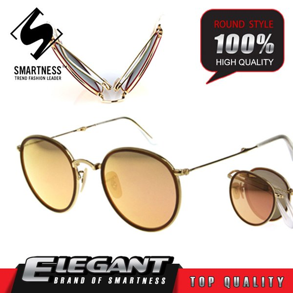 Hot brand fashion 03517 Round Folding strong Alloy reflective Sunglasses Men Women UV400 Protection Gold Frame Pink Sunglasses with Case box