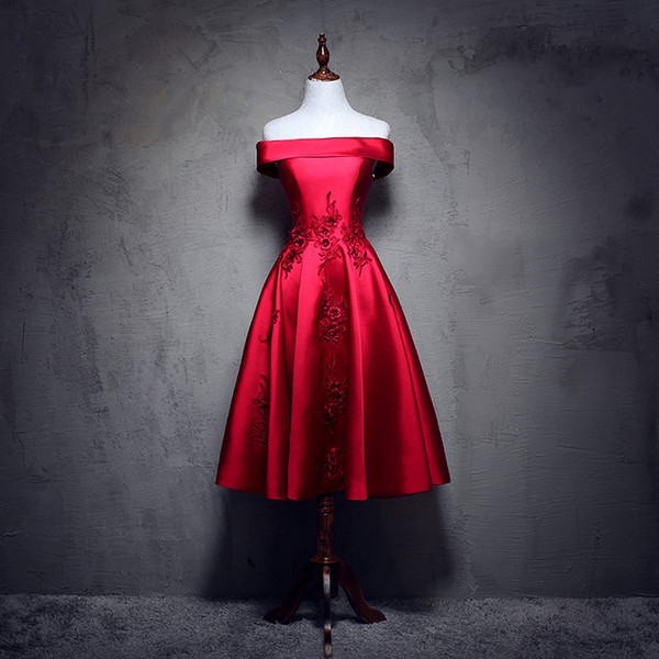 Real Photo Elegant Red Taffeta Strapless Tea Length Sles With Appliques Embroidery Short Evening Gown Party Dress Onepieceeveles